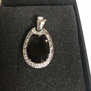 Jewelry - Smoky quartz and white topaz silver pendant